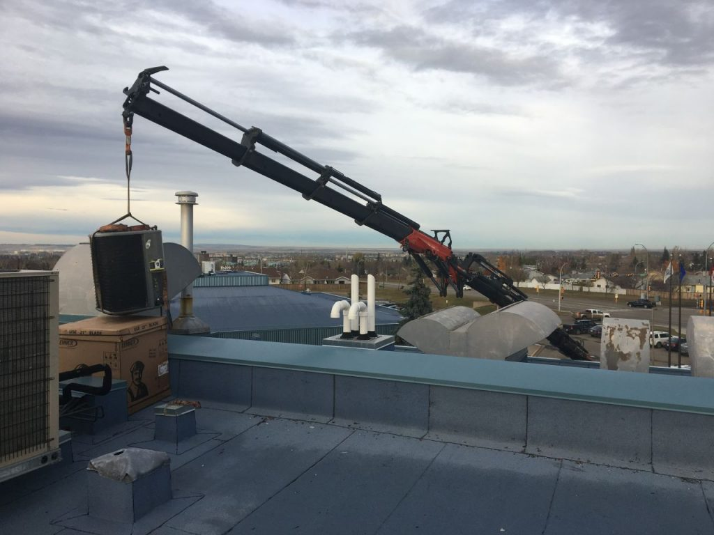 knuckle boom crane roof job